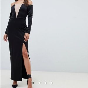 NWT Black Bardot Maxi dress/gown from ASOS
